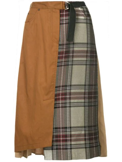 Guild Prime Pleated Contrast Check Skirt In Brown
