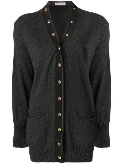 D.exterior Metallic Button Cardigan - Grey