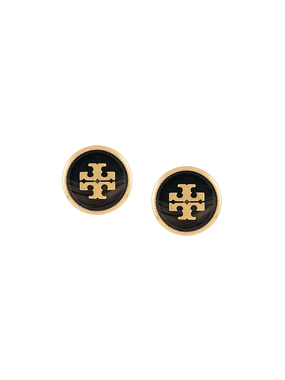 Tory Burch Round Logo Earrings - Metallic