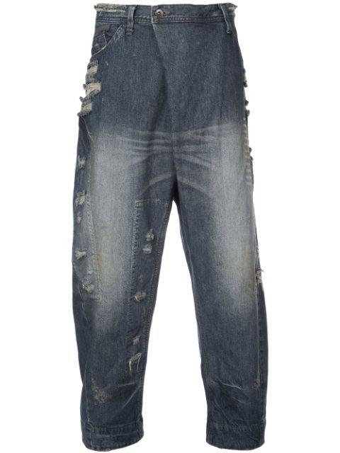 Julius Asymmetric Zip Front Jeans - Blue