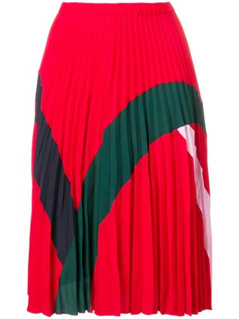 Iceberg Colourblock Pleated Skirt - Red