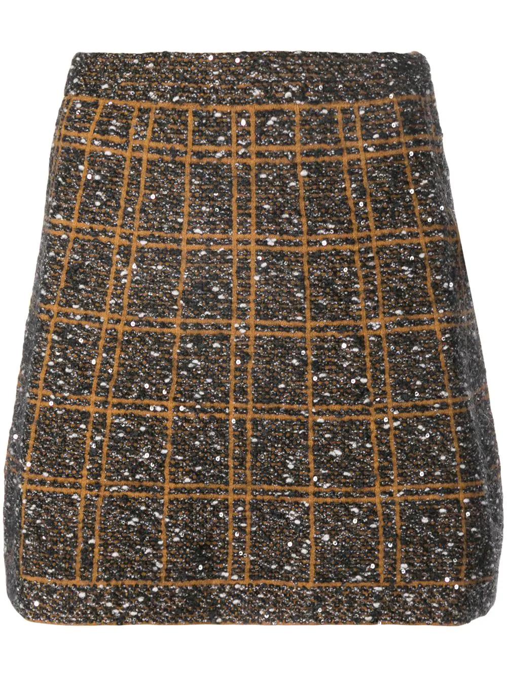 D.exterior Sequin Embellished Skirt - Black