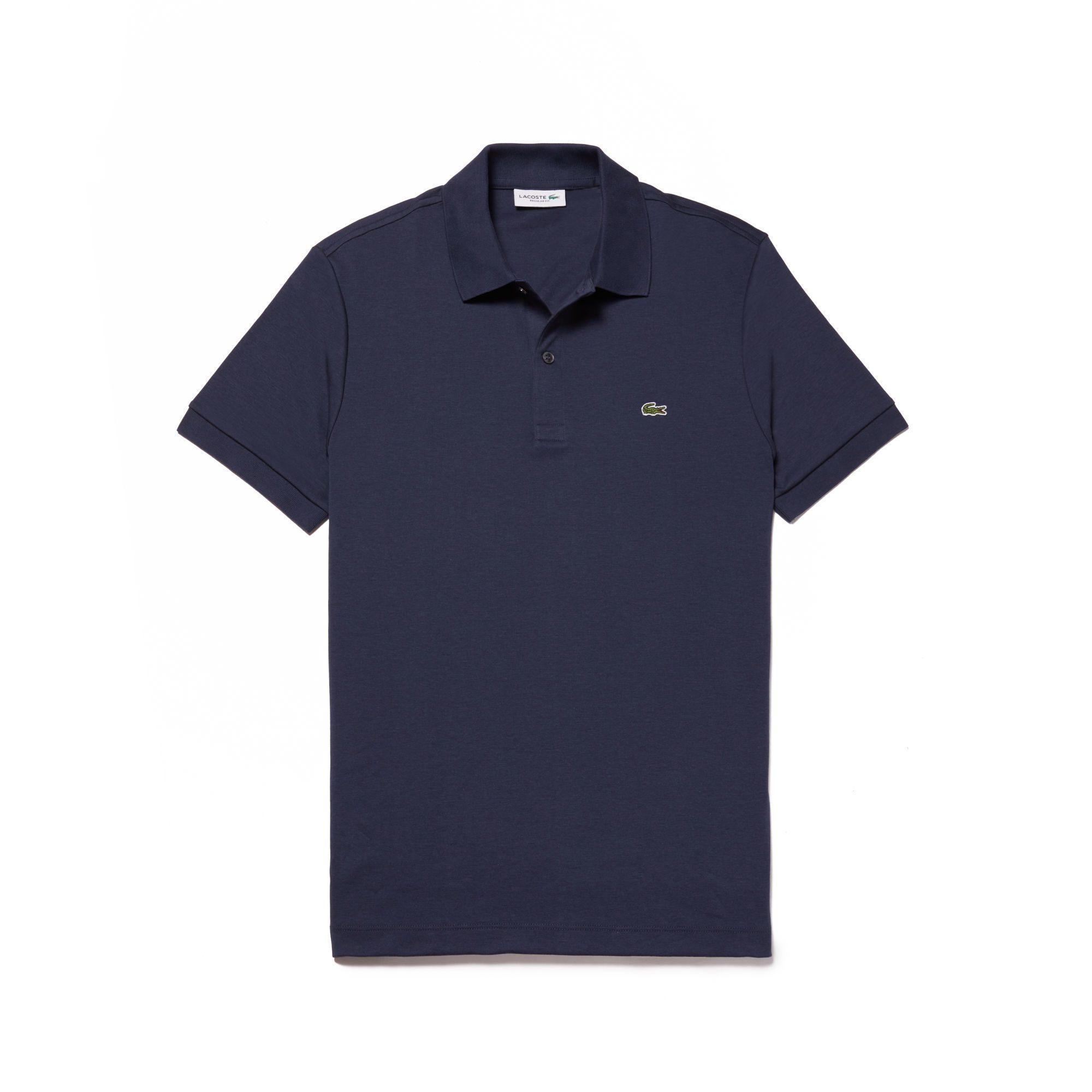 Lacoste Men's Regular Fit Pima Cotton Interlock Polo In Blue