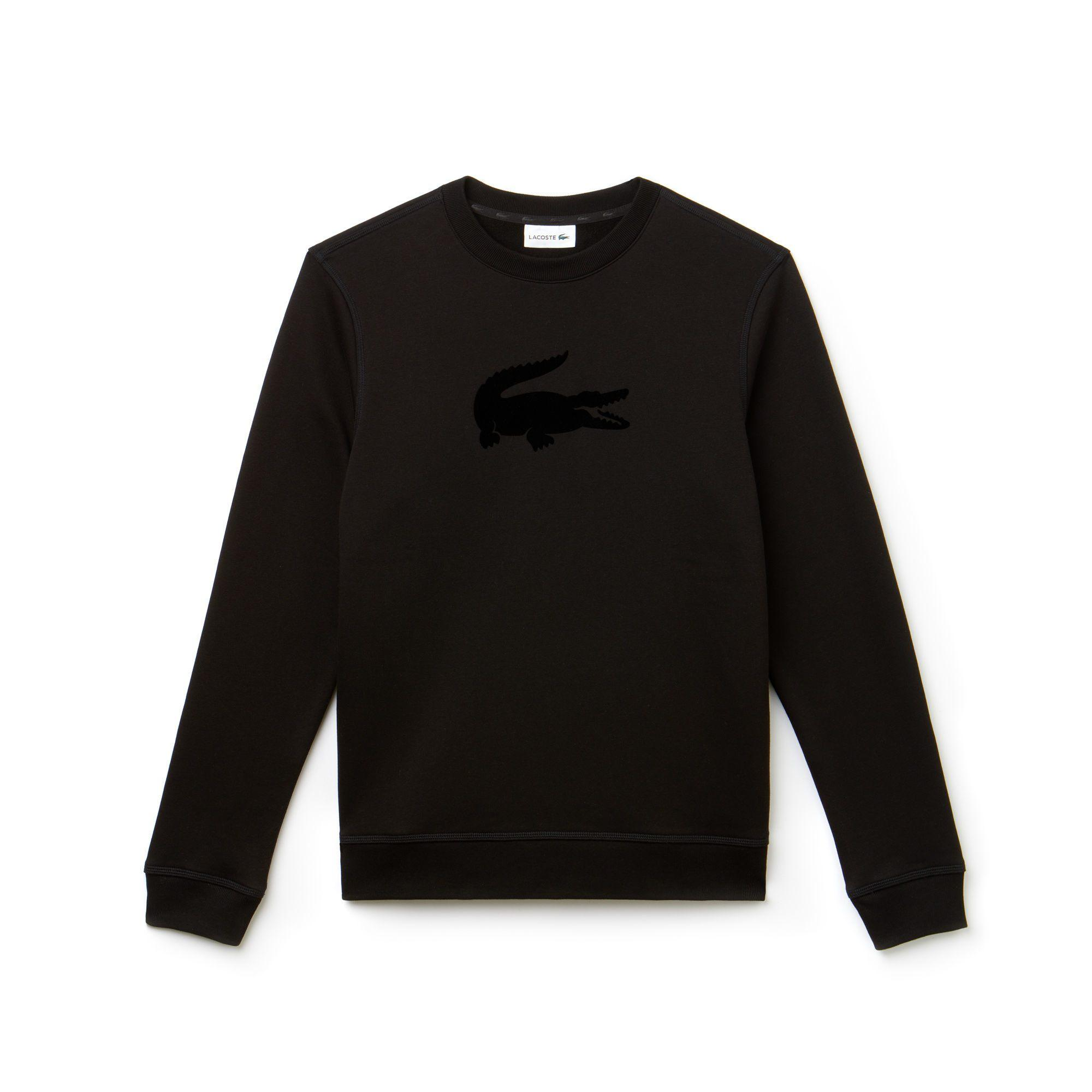 Lacoste Men's Crew Neck Felt Crocodile Fleece Sweatshirt In Black