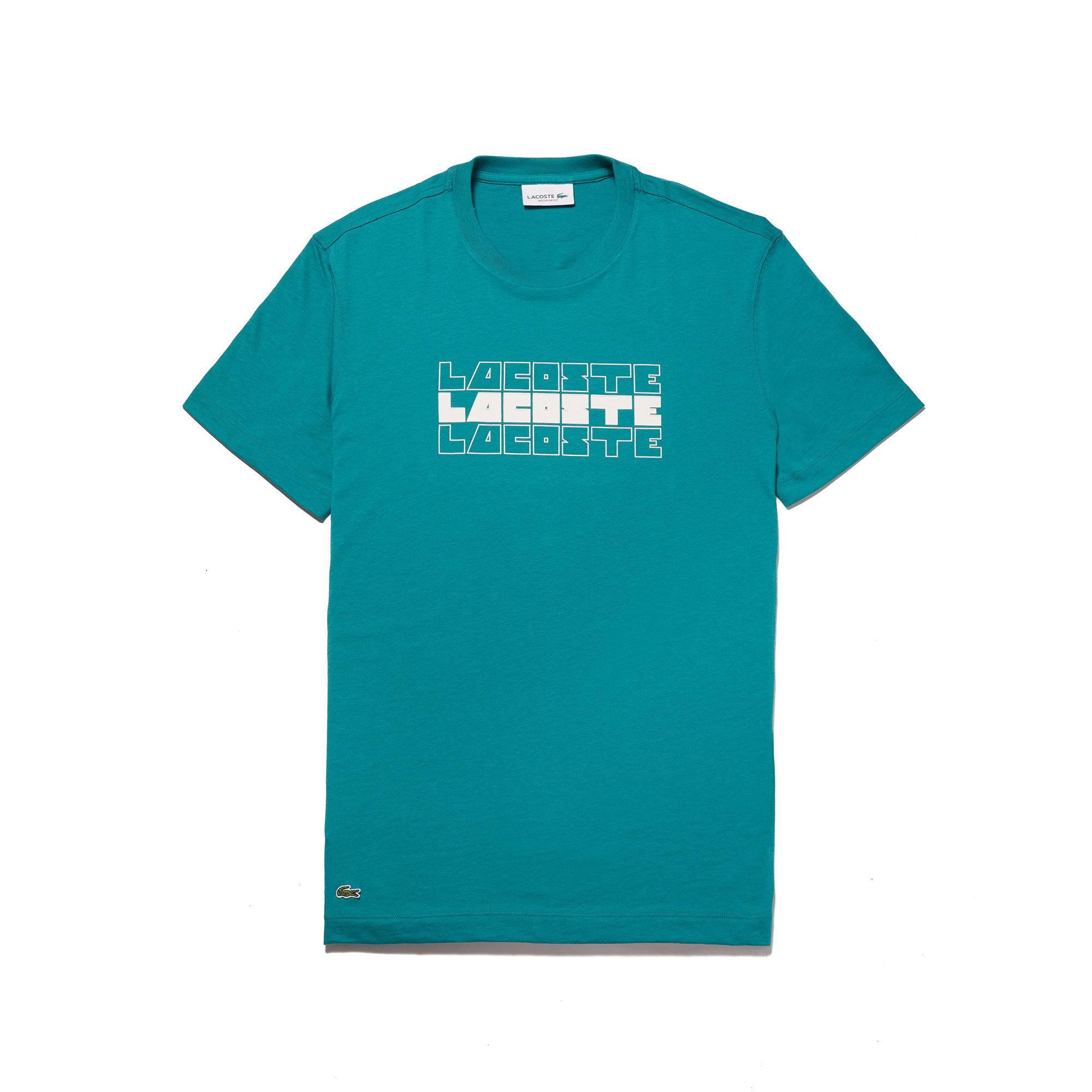 Lacoste Men's Crew Neck Lettering Cotton Jersey T-shirt In Green