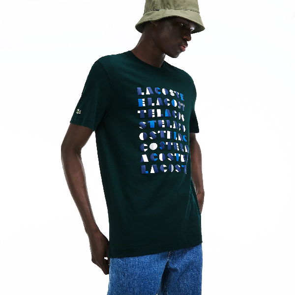 Lacoste Men's Crew Neck 3d Lettering Cotton Jersey T-shirt In Green