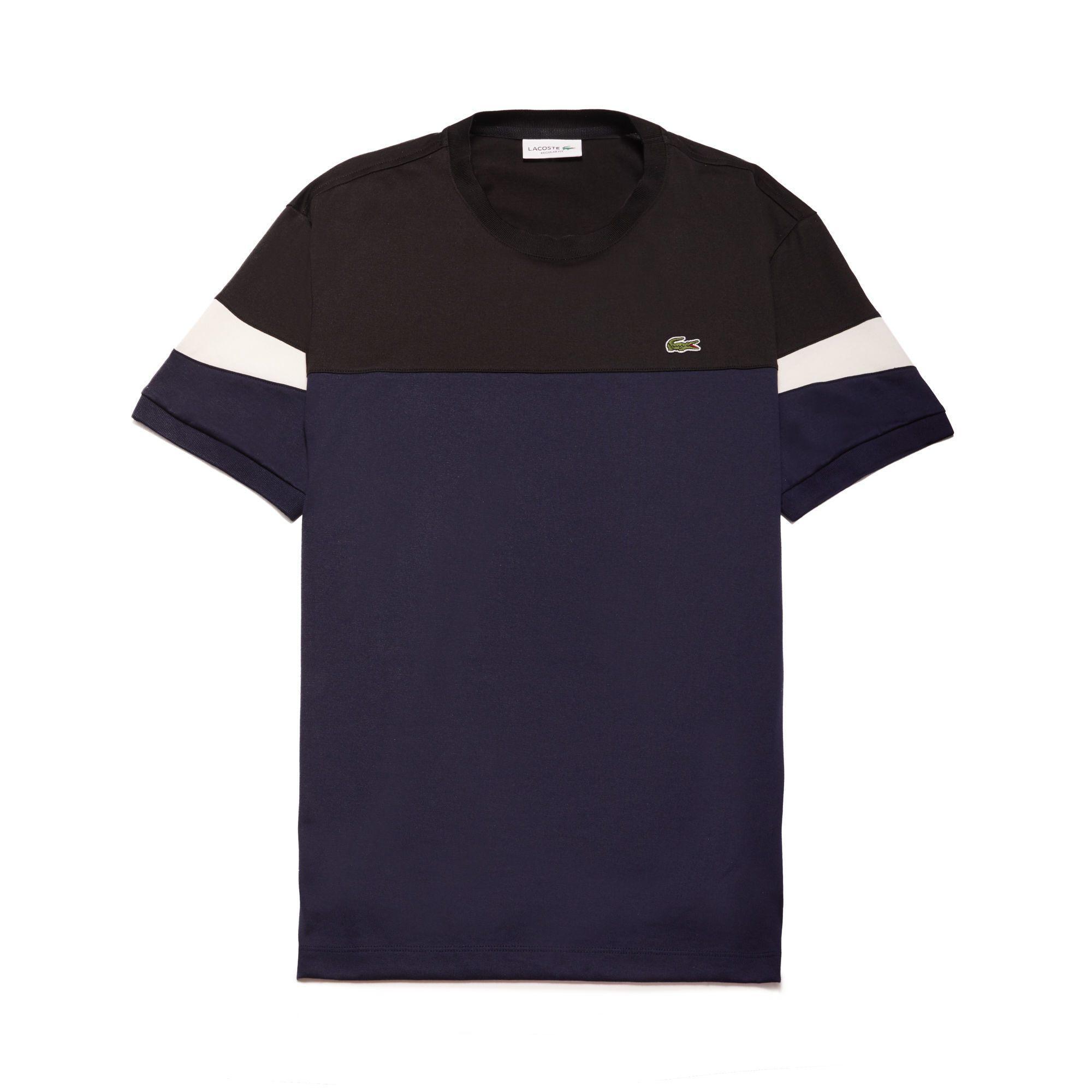 Lacoste Men's Crew Neck Colorblock Soft Jersey T-shirt In Navy Blue / Black / White