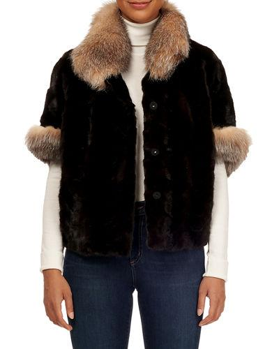 Gorski 1/2-sleeve Fox-fur Trimmed Mink Section Jacket In Brown