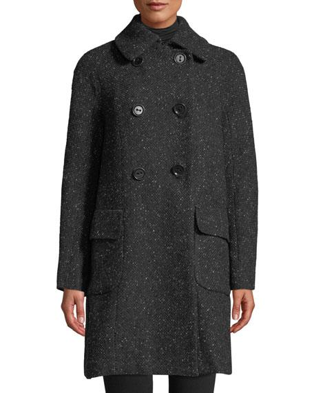 Leon Max Double-breasted Tweed Coat In Black Pattern