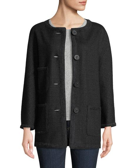 Leon Max Button-front Wool-blend Coat In Charcoal