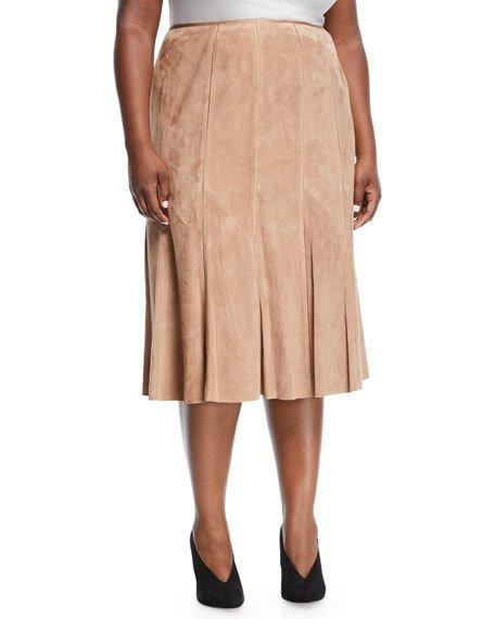 Lafayette 148 New York Plus Aria Suede Godet Midi Skirt, Plus Size In Brown