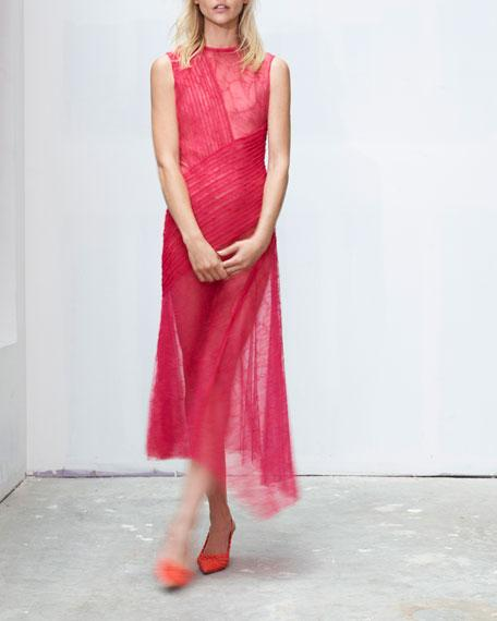 Jason Wu Sleeveless Collaged-lace Cocktail Dress In Magenta