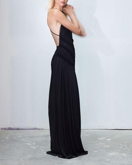 9e41631c49 Jason Wu High-Neck Backless Gathered Fluid Jersey Gown In Black ...