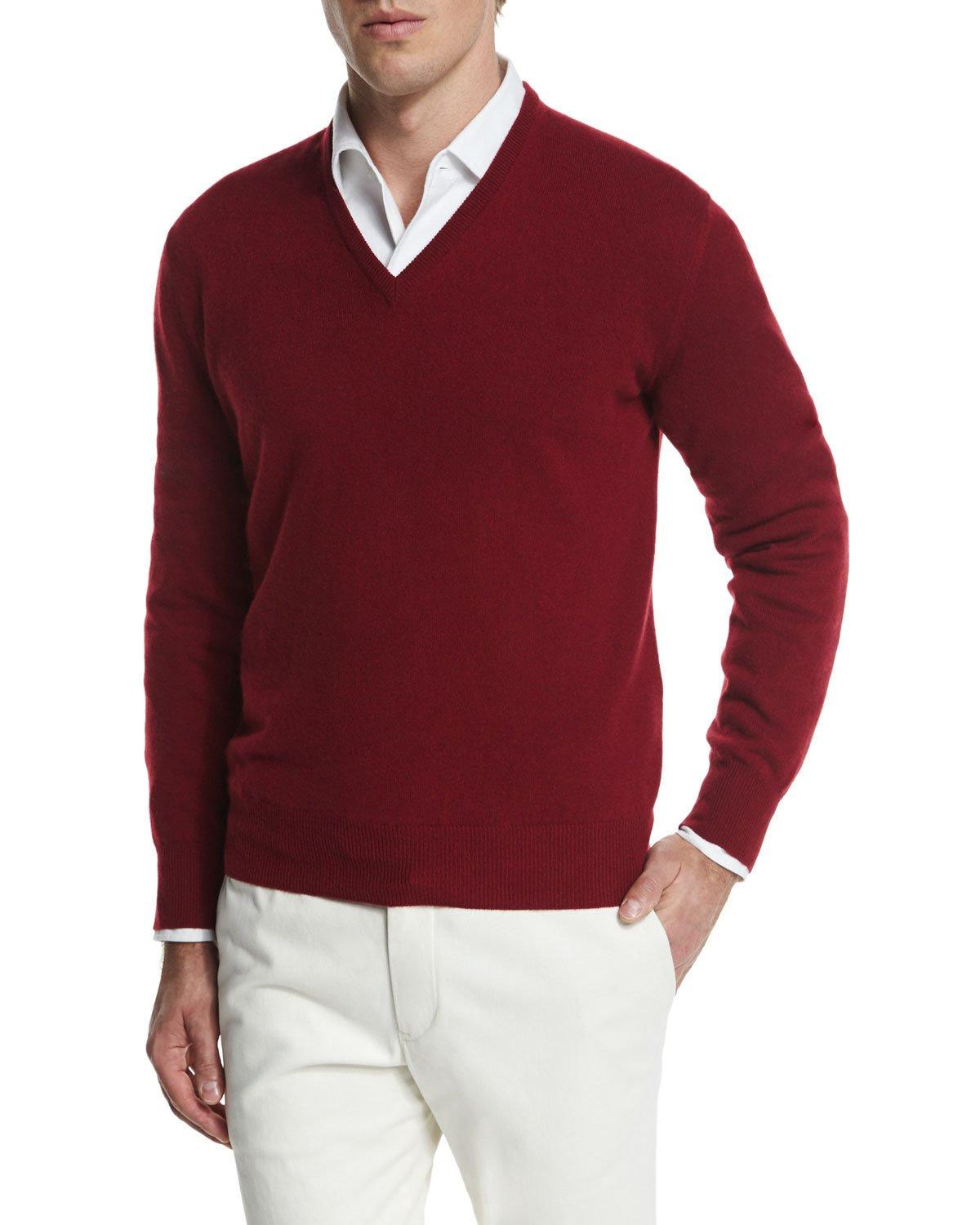 Loro Piana Scollo V Classic Baby Cashmere Sweater, Red