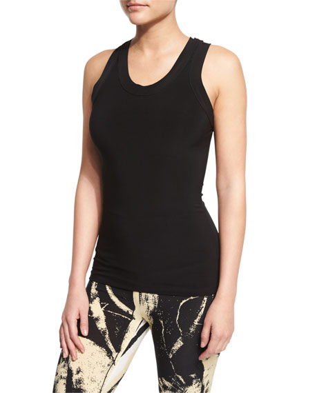 Norma Kamali Racer Sleeveless Stretch Sport Tee In Black
