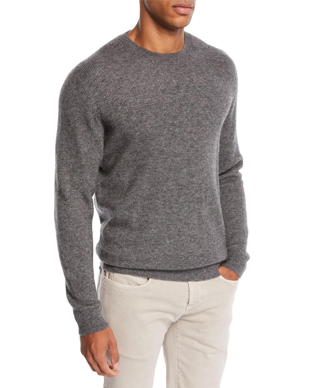 Loro Piana Men's Dunster Cashmere Crewneck Sweater In Gray