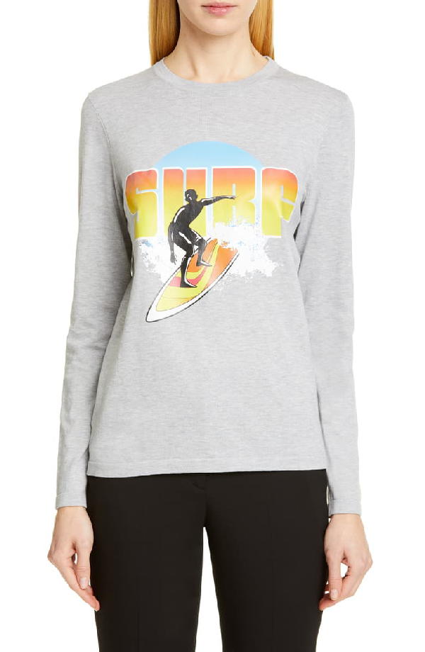 Michael Kors Long-sleeve Compact-cotton Surf Graphic Tee In Pearl Grey Melange