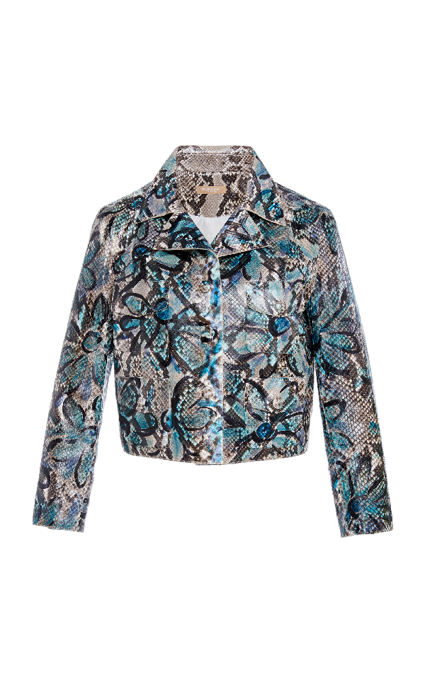 Michael Kors Floral-painted Python Cropped Moto Jacket In Blue