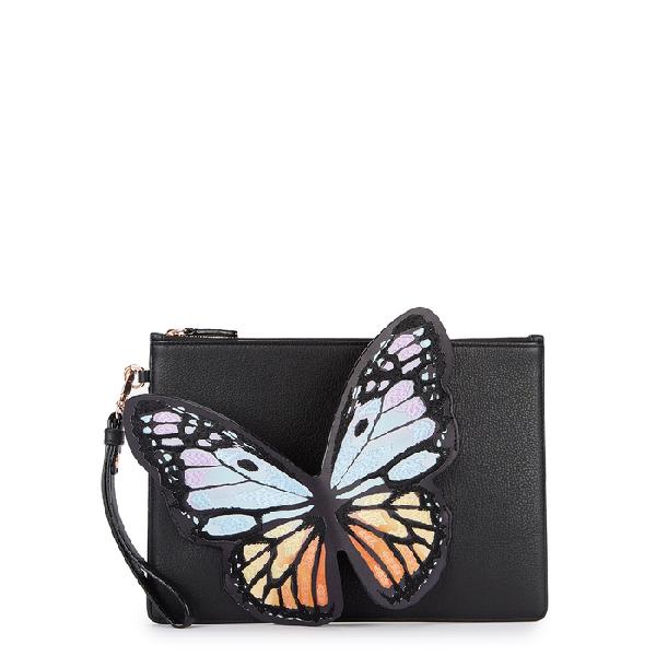 Sophia Webster Flossy Butterfly Leather Pochette Clutch Bag In Black Pattern