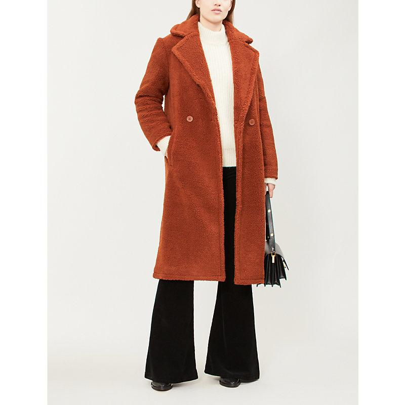 Maje Gourson Faux-shearling Coat In Brown