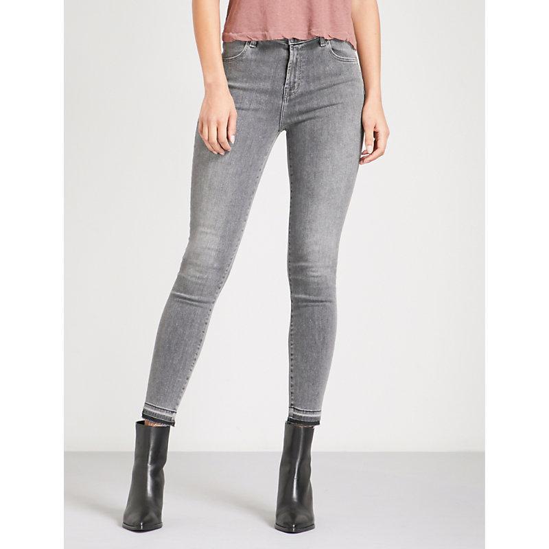J Brand Ladies Grey Branded Concealed Zip Alana Skinny Cropped Mid-rise Jeans