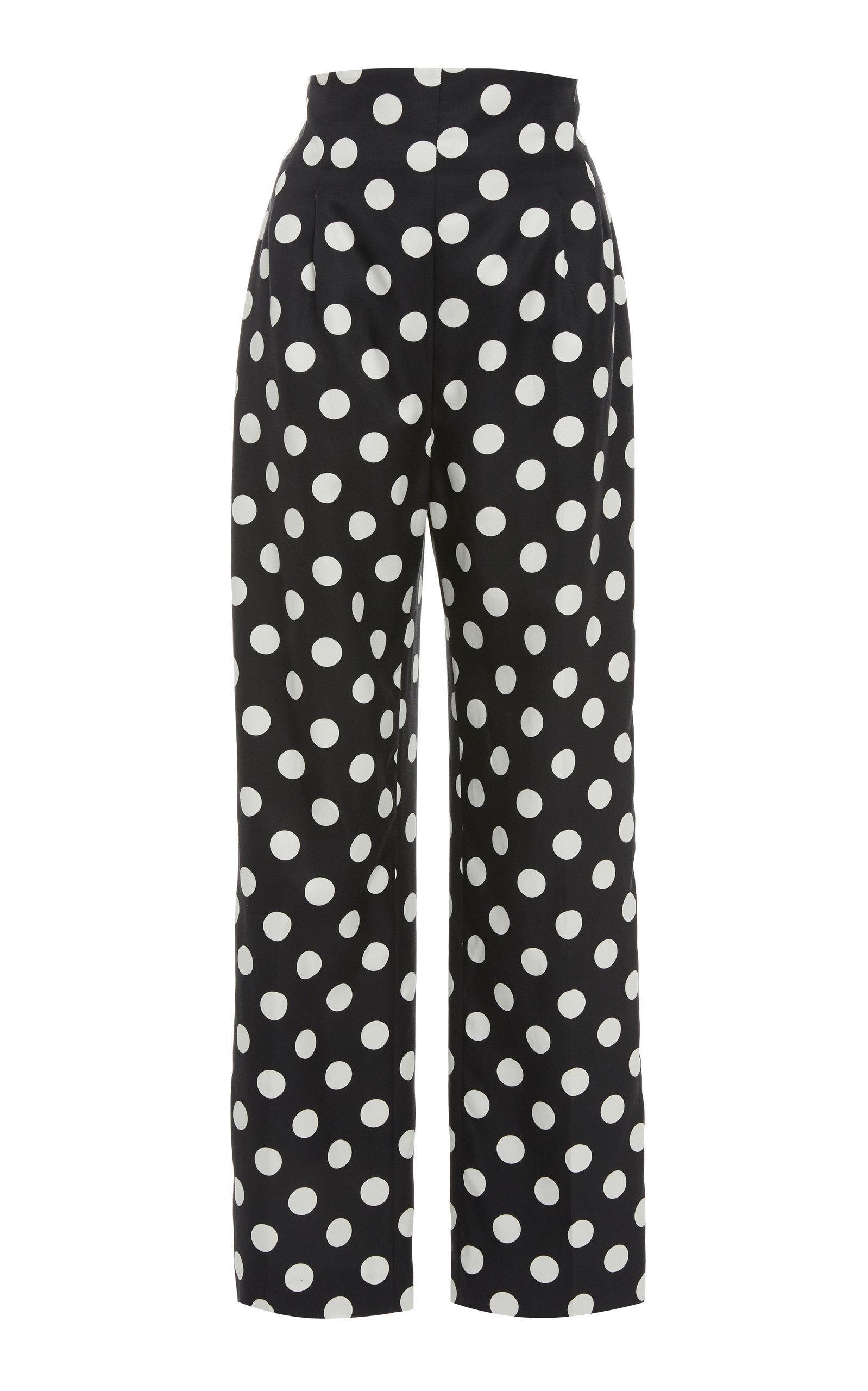 Rebecca De Ravenel High-waisted Polka-dot Silk Twill Cropped Pants In Print