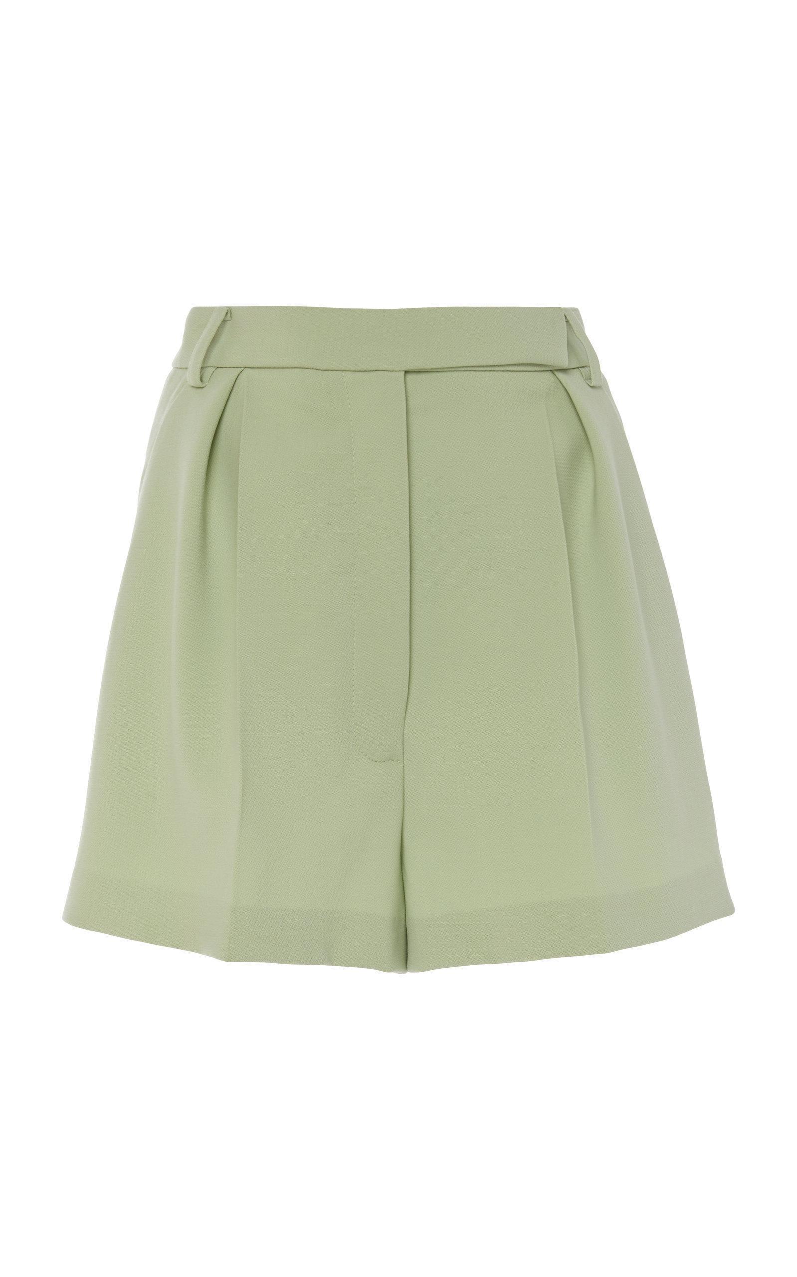 Carolina Herrera Pleated Wool-blend Shorts In Green