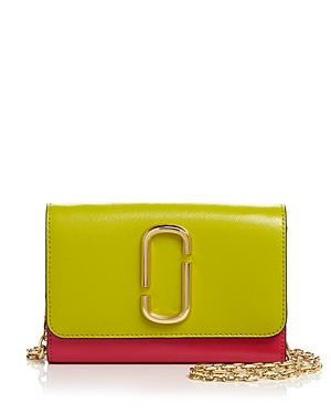 Marc Jacobs Leather Chain Wallet In Chartreuse/gold