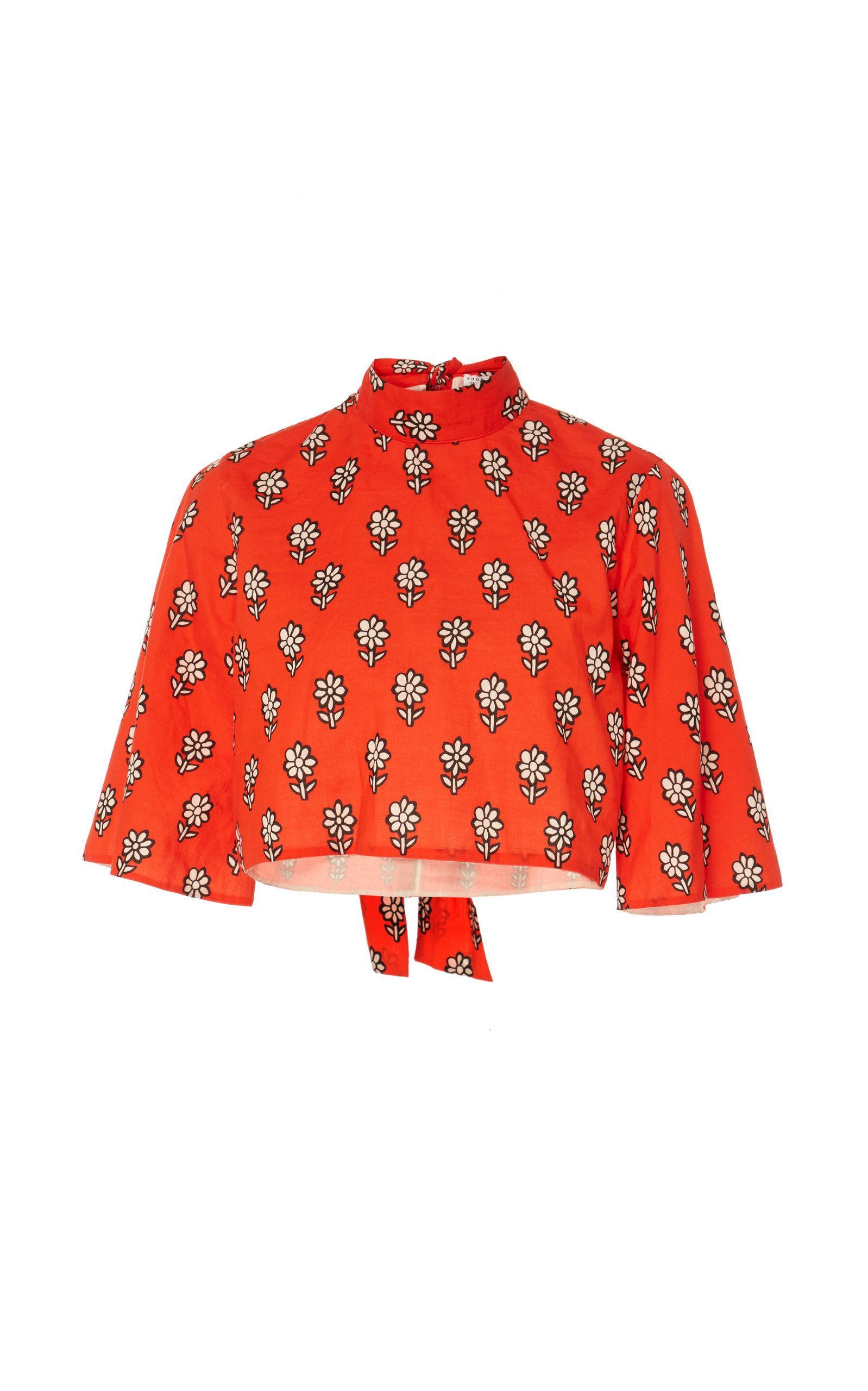 Rhode Audrey Cotton Top In Red