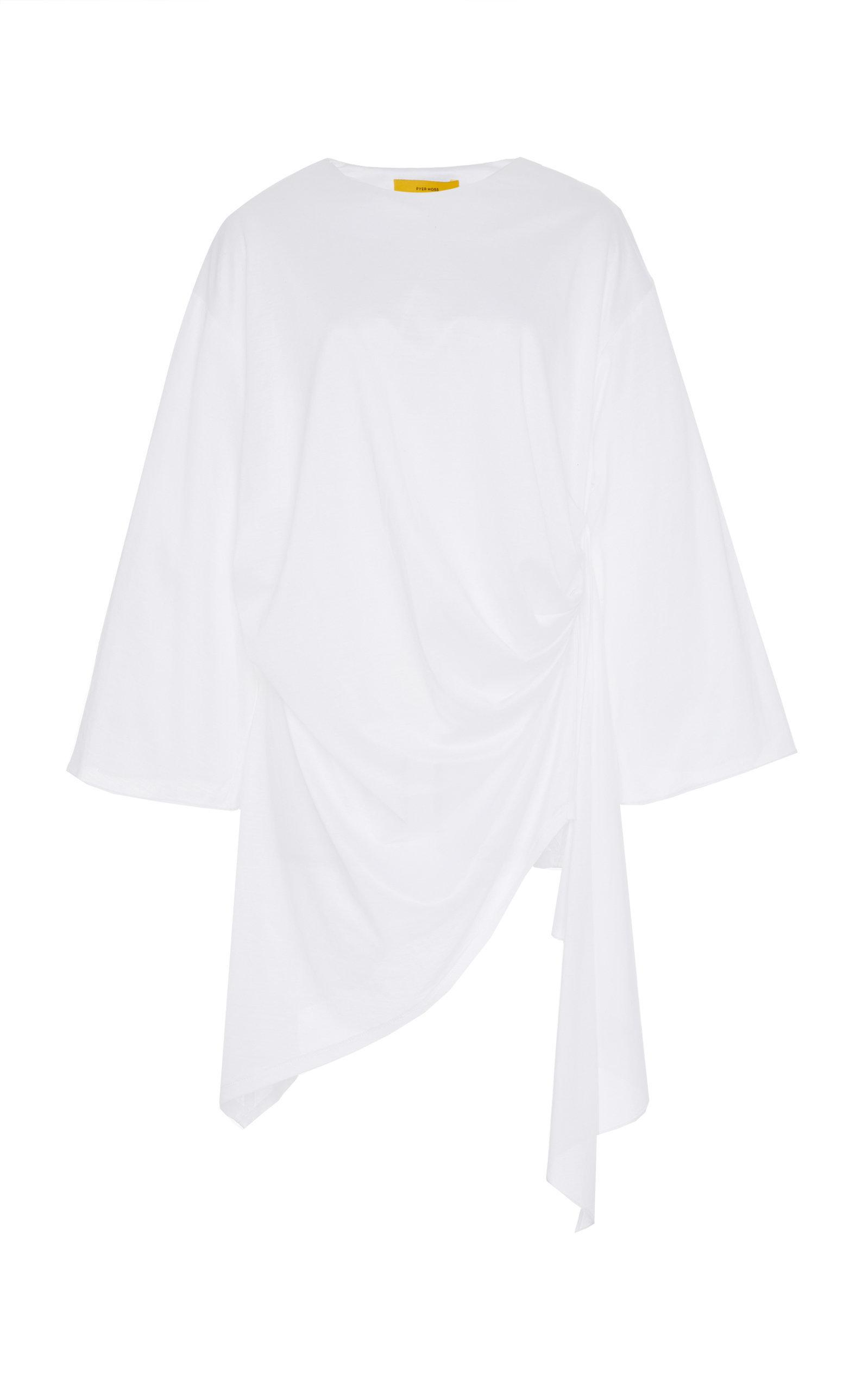 Pyer Moss Curtain-draped Cotton Blouse In White