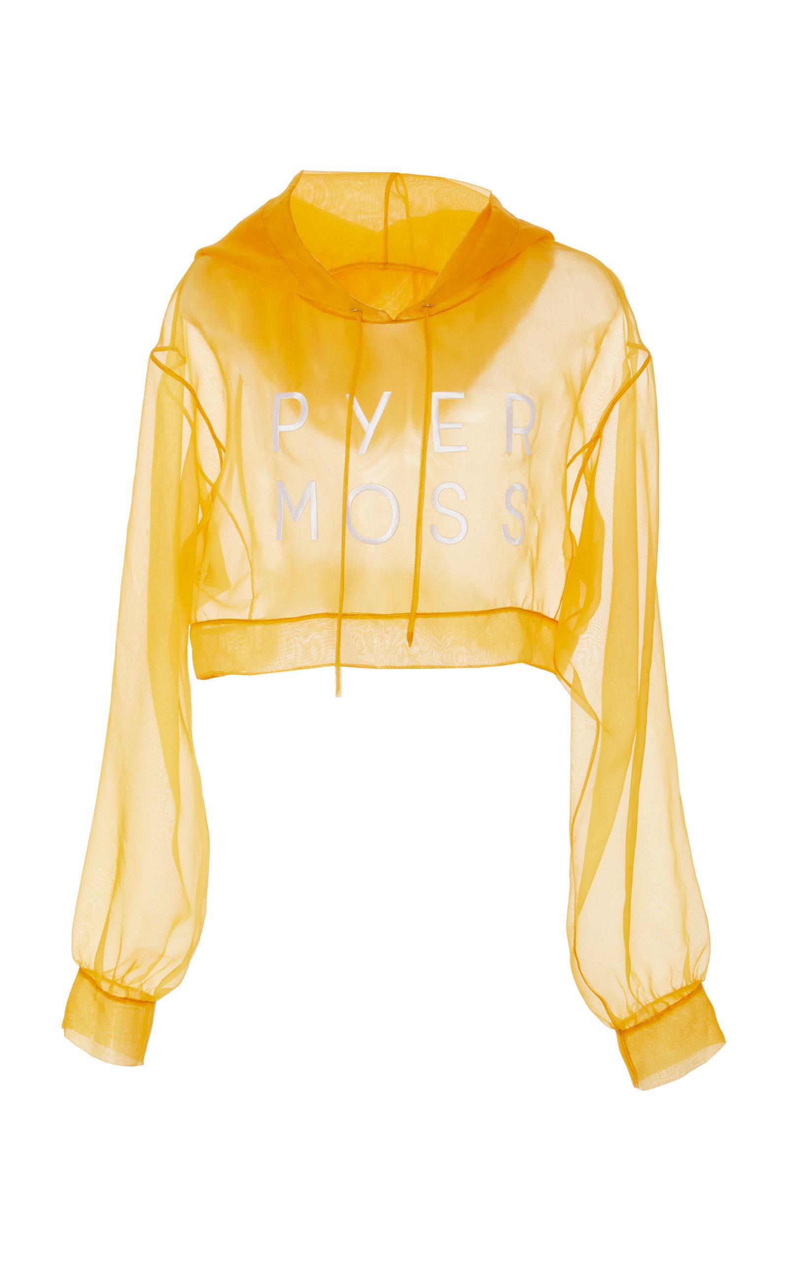 Pyer Moss Classic Logo Cropped Silk Hoodie In Yellow