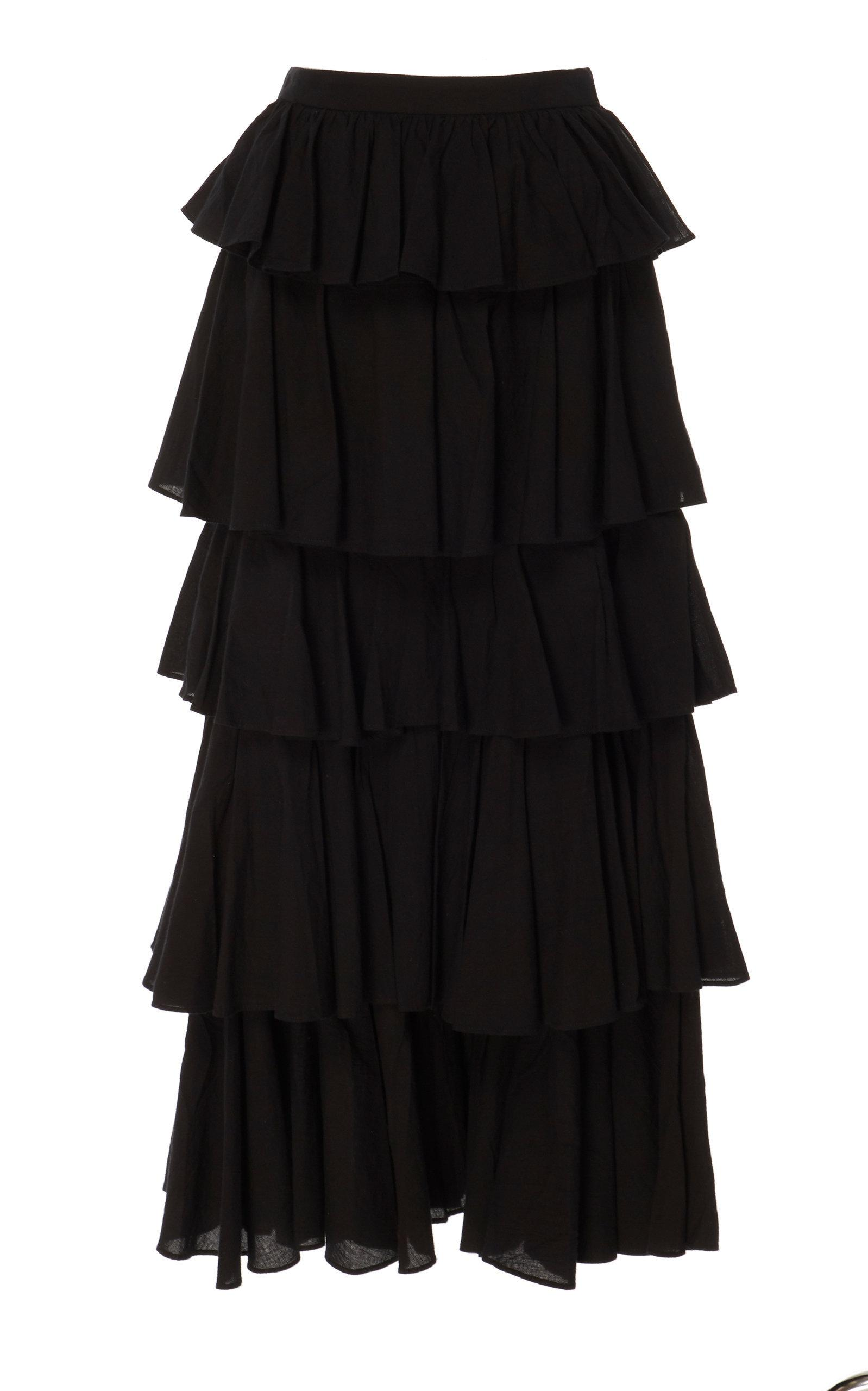 Rhode Romeo Tiered Floral-print Cotton Maxi Skirt In Black