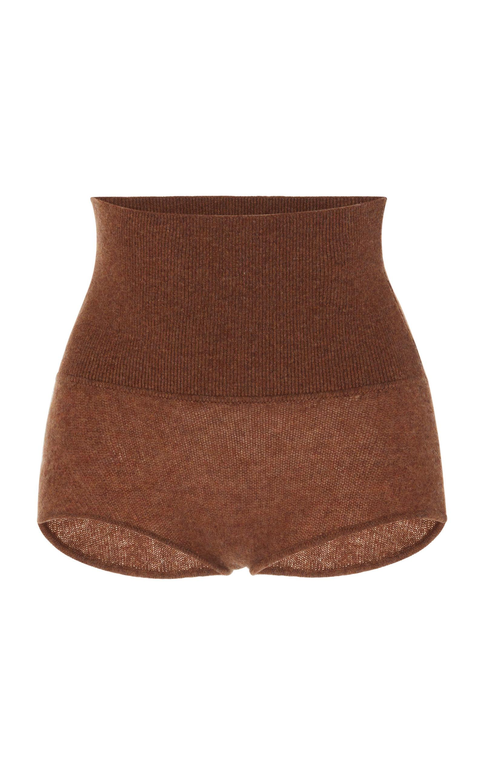 Khaite Belinda Cashmere Shorts In Brown