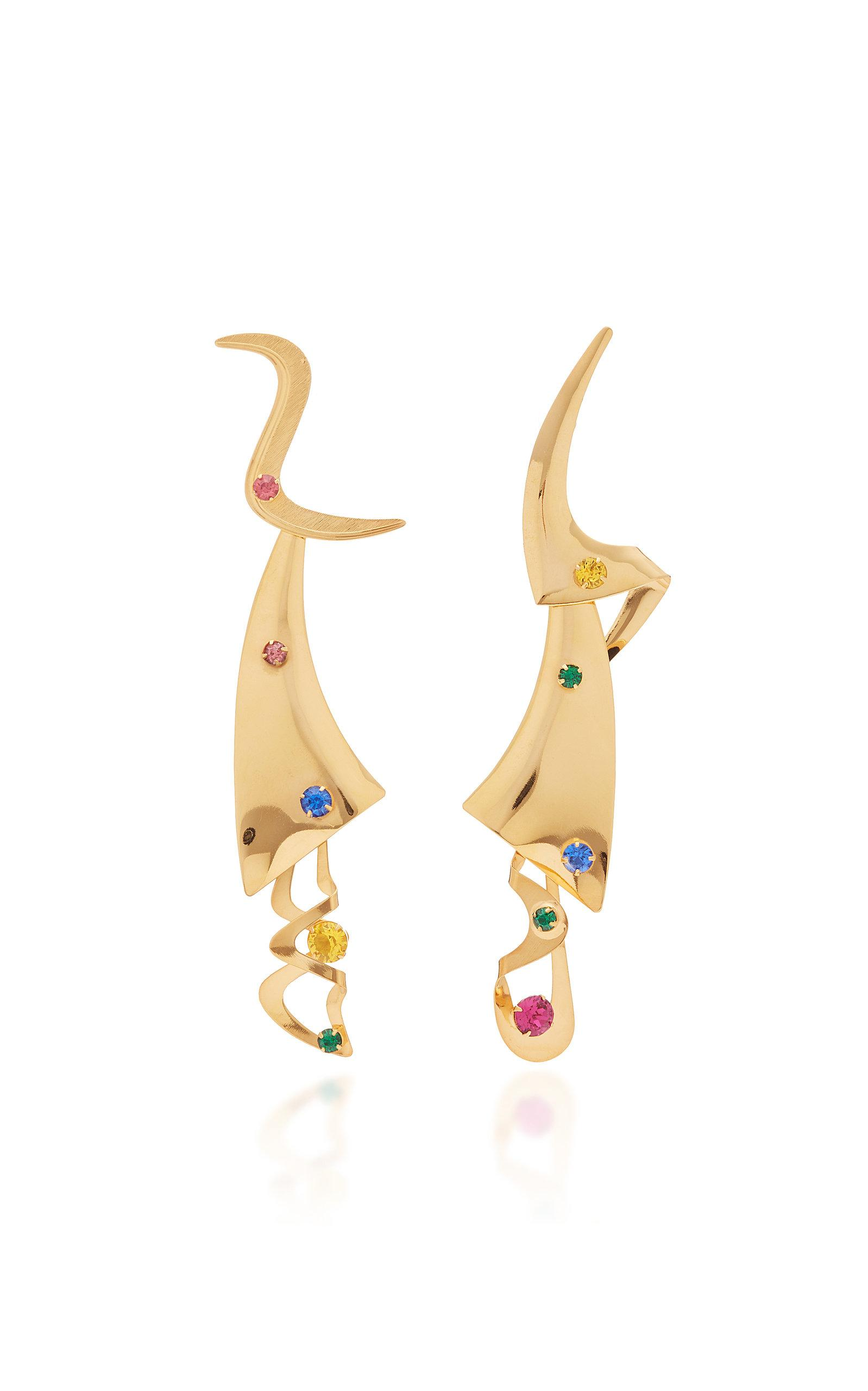 Rodarte Gold Modern Shapes Earring With Swarovski Crystals