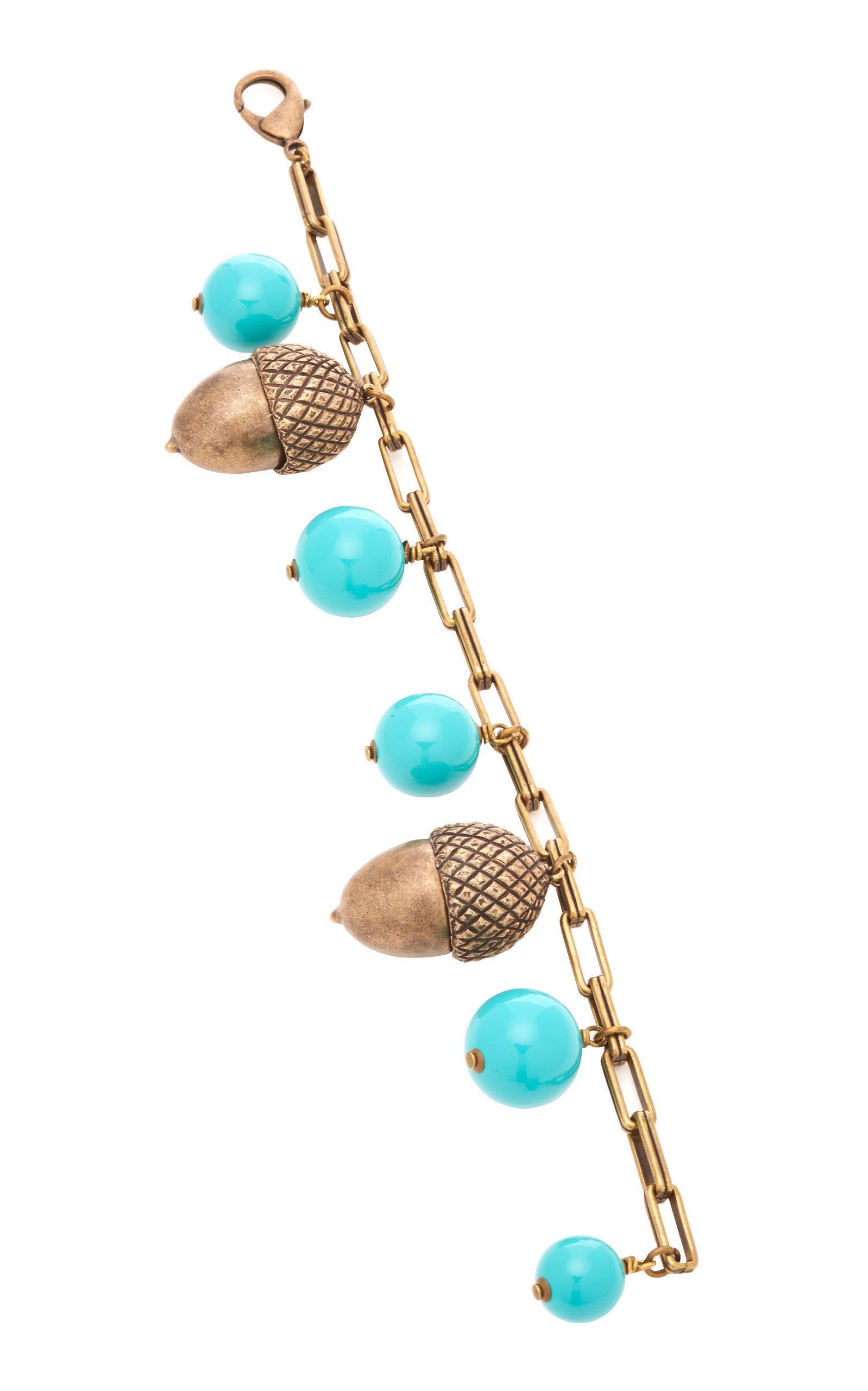 Carolina Herrera Acorn And Beaded Bracelet In Blue