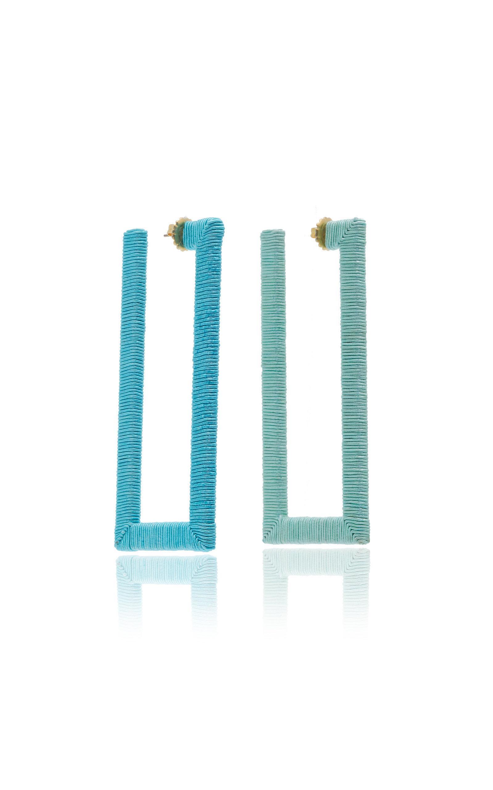 Rebecca De Ravenel Geo Hoop Earrings In Blue