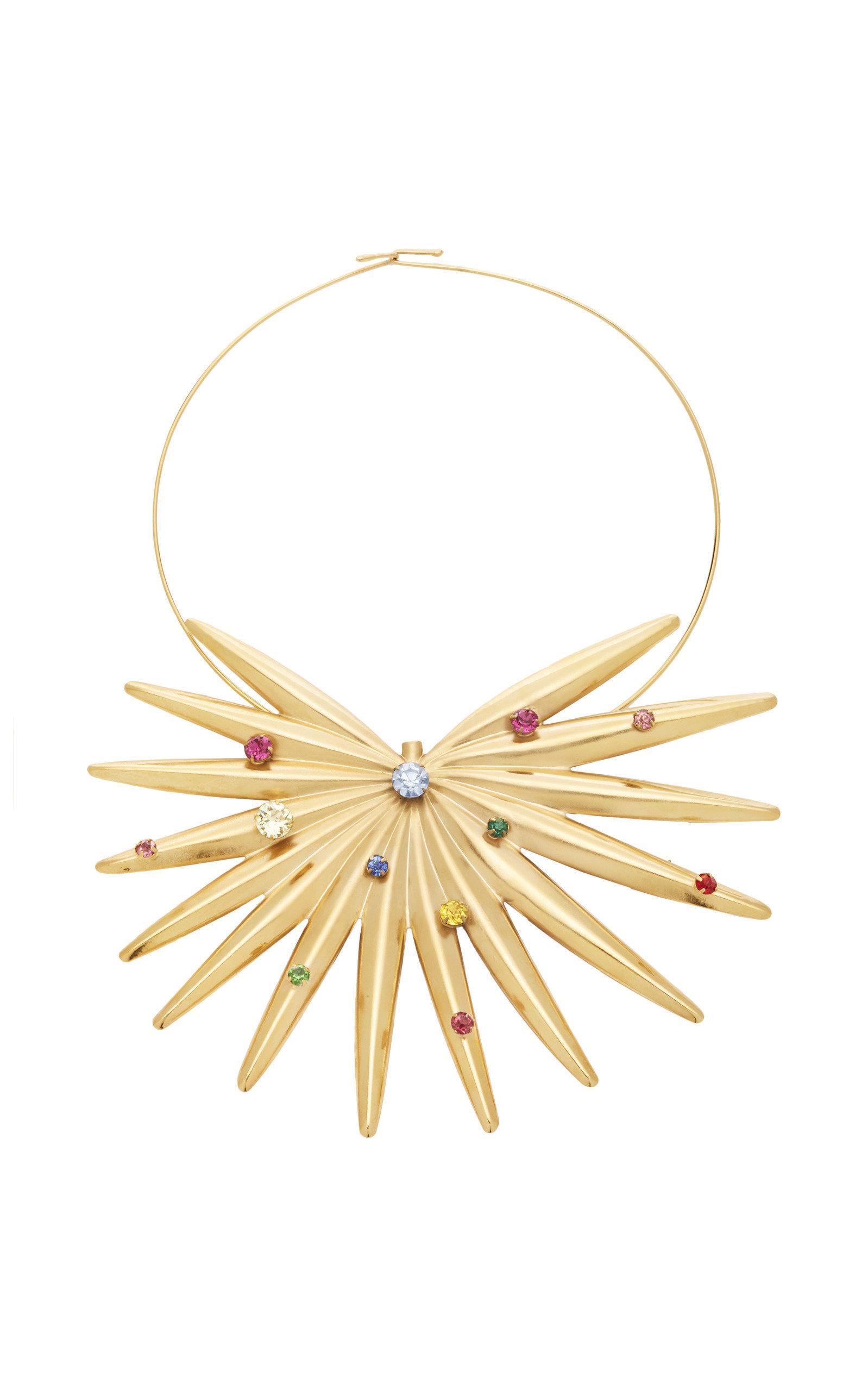 Rodarte Gold Palm Neclace With Swarovski Crystals