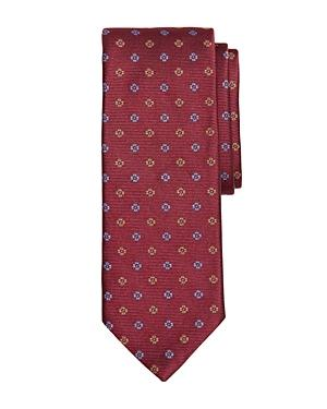 Brooks Brothers Two-tone Floral Silk Classic Tie In Dark Red