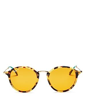 Ray Ban Ray-ban Men's Polarized Round Sunglasses, 50mm In Yellow Tortoise