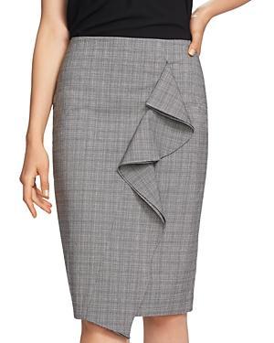 1.state Ruffled Glen Plaid Pencil Skirt In Rich Black