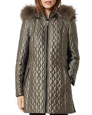 One Madison Diamond Quilted Fox Fur Trim Down Coat In Taupe