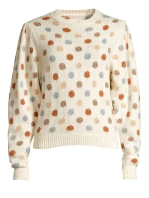 Rebecca Taylor Jacquard Knit Dot Sweatshirt In Ivory Multi