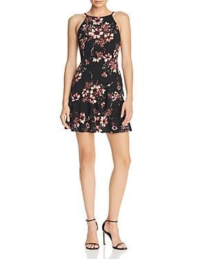 Aqua Ruffled Floral Print Dress - 100% Exclusive In Black/white
