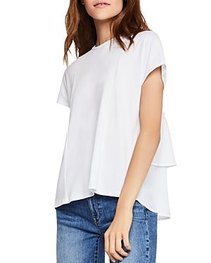 Bcbgeneration Tiered Ruffle-back Tee In Optic White