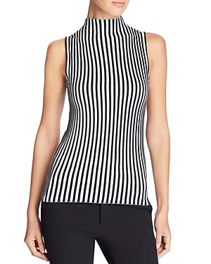Kenneth Cole Sleeveless Ribbed Stripe Sweater In Black/white