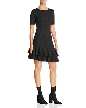 Aqua Pinstripe Asymmetric Flounce Hem Dress - 100% Exclusive In Black/white