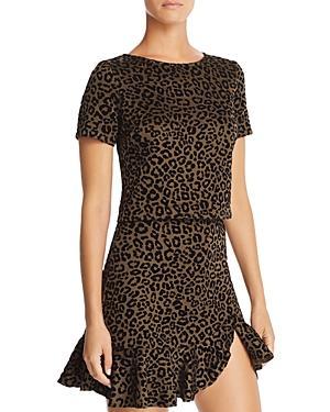Aqua Flocked Leopard Print Top - 100% Exclusive In Olive/black