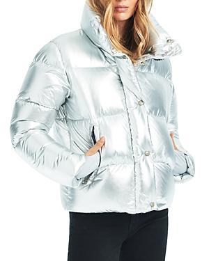 Sam. Andi Short Down Puffer Coat In Silver/ice