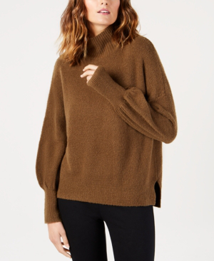 French Connection Orla Flossy Textured Mock-neck Sweater In Oatmeal Melange