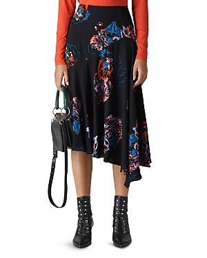 Whistles Freya Floral Asymmetrical Skirt In Black/ Multi